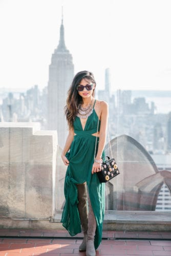 NYFW 2017, NYFW, New York FASHION WEEK, NYC travel guide, things to do in NYC, places to take pictures in NYC, top of the rock, Rockefeller center, pared sunglasses, green dress