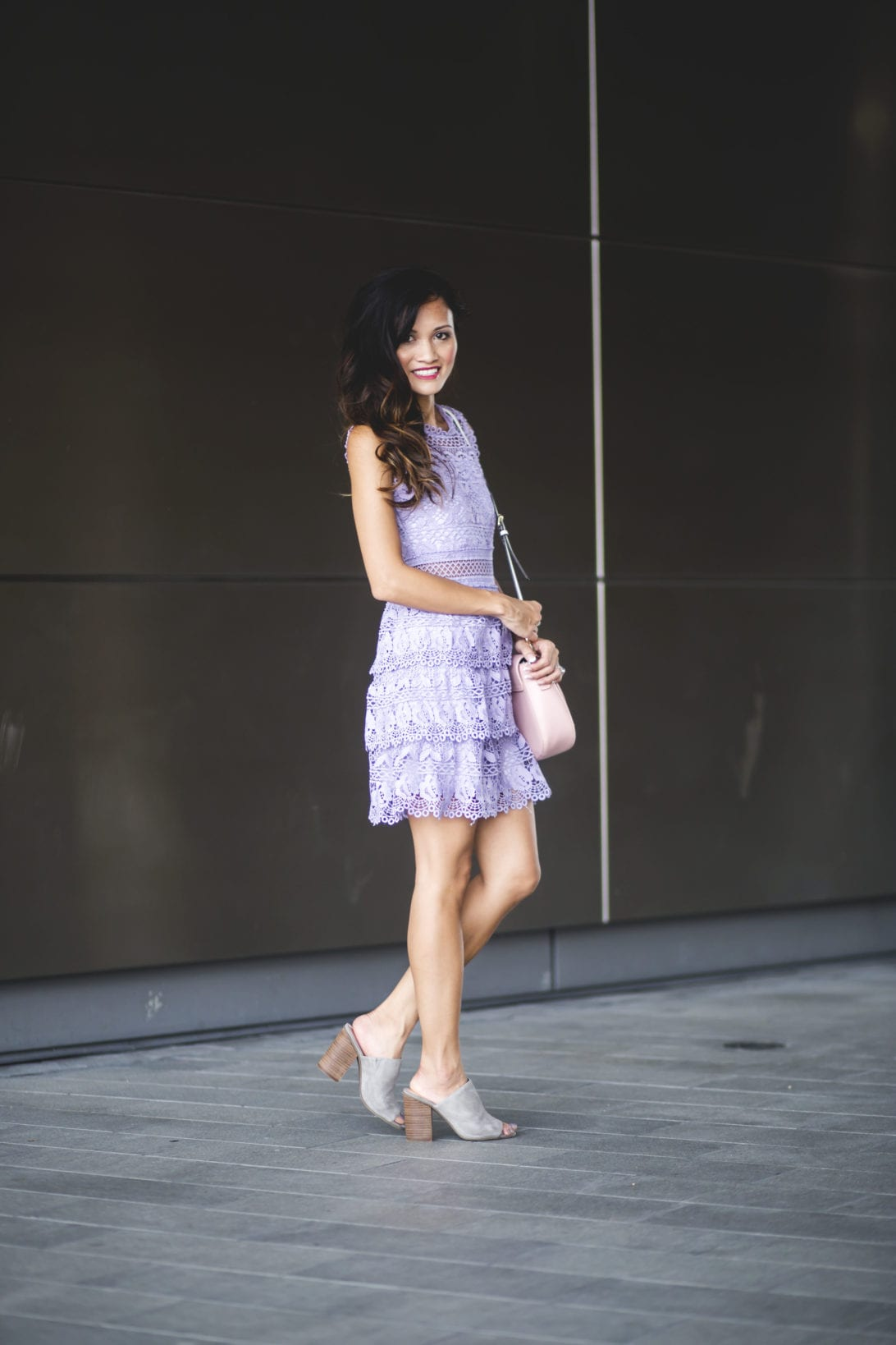 lace dress, purple lace dress Sunday best, what to wear to church, gray mules, pink bag. blazer jacket, layer for fall, pastel dresses, lace dresses