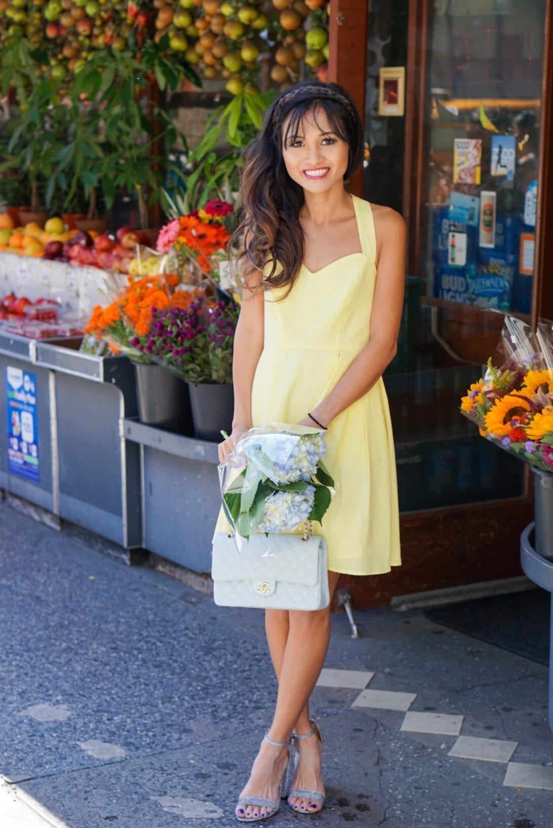 yellow dress, yellow seersucker dress, seersucker dress, Chanel bag, flower shop, NYC, NYC flower shop