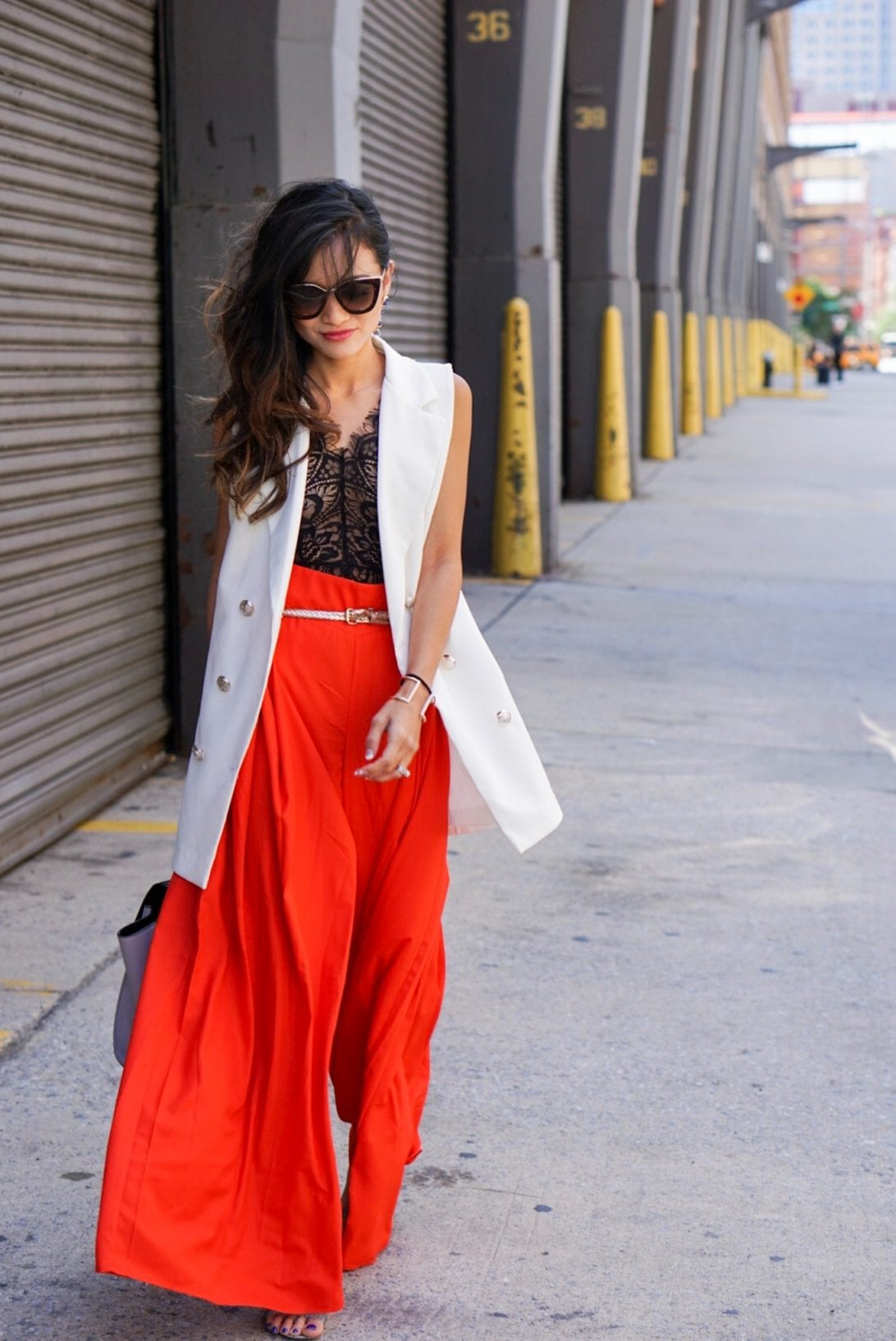 RED WIDE LEG PANTS, AGACI, NYFW SEPTEMBER 2017, NYFW STYLE, NYFW OUTFITS, New York FASHION WEEK, BLACK LACE BODYSUIT, PRADA SUNGLASSES, WHITE VEST