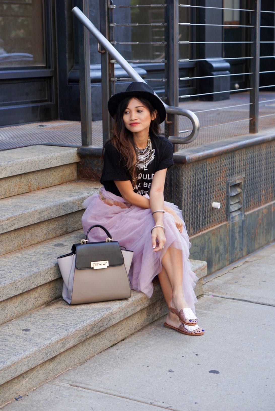 NYC STREET STYLE, New York FASHION WEEK, New York CITY, NYFW 2017, NYFW STREET STYLE, STREET STYLE, FEMINIST, TULLE SKIRT, SEX AND THE CITY OUTFIT, NY GLITTER FLATS, ZAC ZAC POSEN BAG, BLACK FEDORA