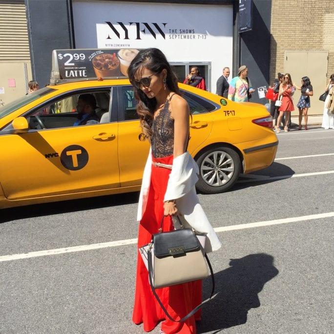 nyfw, NYC, New York fashion week, nyfw style, NYFW STREET STYLE, WHAT TO WEAR TO NYFW, NYC STREET STYLE, NYC, RED WIDE LEG PANTS, ZAC POSEN BAG, LACE BODYSUIT, WHITE VEST