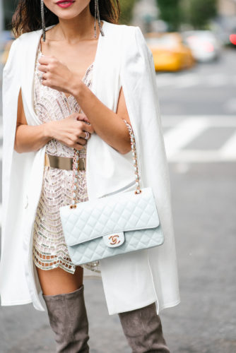 NYFW EXPERIENCE, NYFW OUTFIT, New York FASHION WEEK, NYFW 2017, NYFW STYLE, NYFW STREET STYLE, PHILIPP PLEIN, REWARDSTYLE PARTY, GOLD BELT, SEQUIN ROMPER, CHANEL FLAP BAG, CHANEL BAG, GREY OTK BOOTS, GREY THIGH HIGH BOOTS, OVER THE KNEE BOOTS, SLICK BACK WET HAIR DO, NYC STREET, NYC STREET STYLE