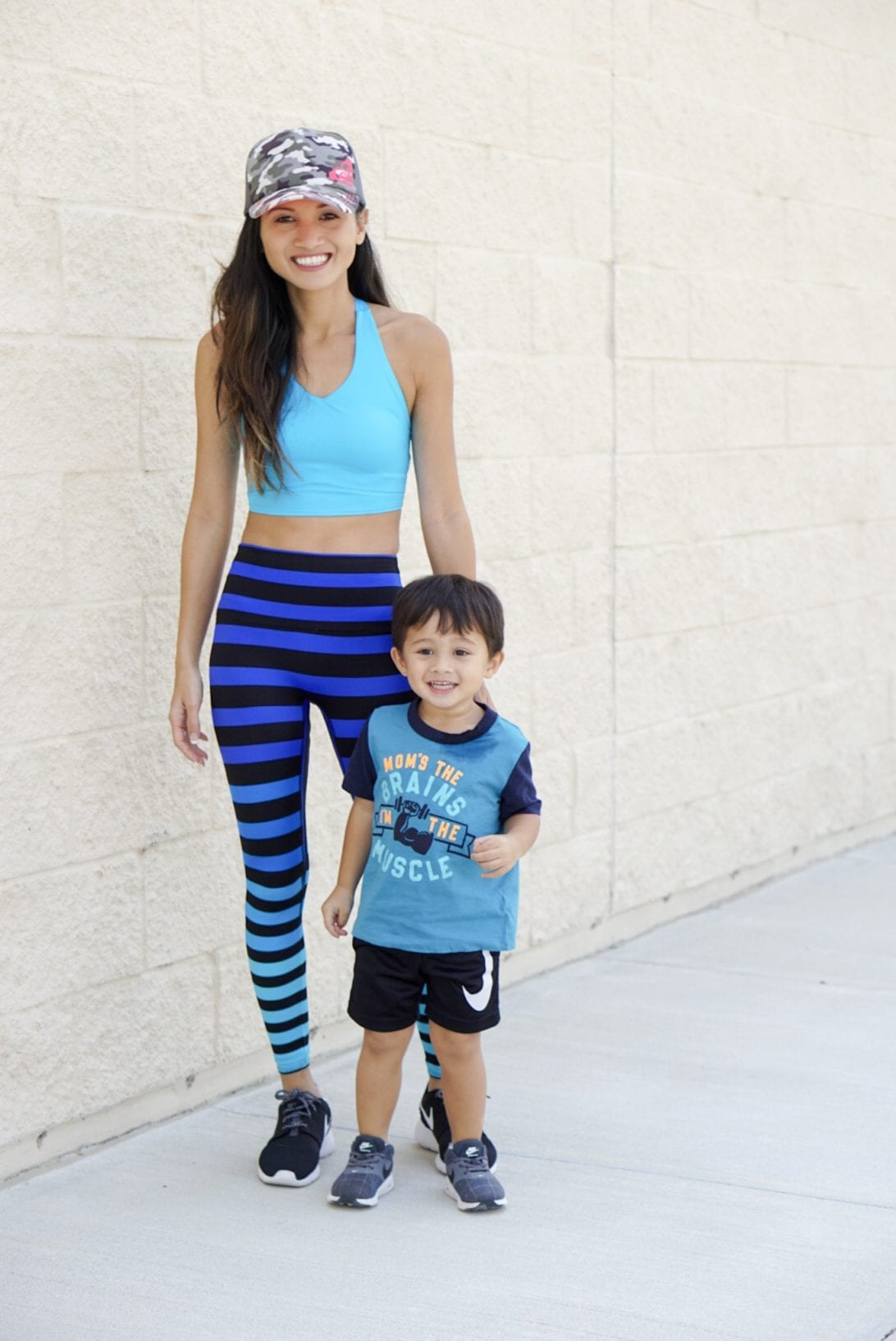 cardio routine, working out with your toddler, workout outfit, exercise outfit, mommy and me workout, k-deer leggings, fitness gear, fitness style, fitness fashion, mommy and me style, mommy and son style