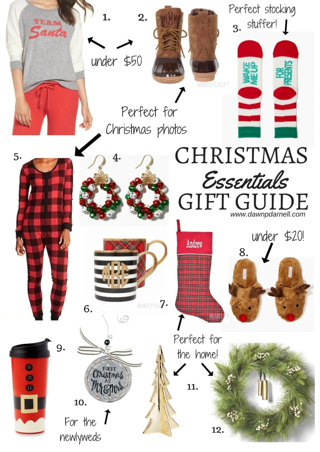 1. Team Santa Raglan Sweatshirt  2. Monogrammed Duck Boots  3. Wake Me Up For Presents Socks  4. Jingle Bell Wreath Earrings  5. Thermal Onesie for Women  6. Personalized Coffee Mug  7. Monogrammed Stocking   8. Reindeer Slip-on Slippers  9. holiday village thermal mug  10. Our First Christmas Ceramic Ornament  11. Gold Porcelain Tree  12. Pine Wreath from Heart & Hand Magnolia, christmas gift guide, christmas decor, family matching pjs, buffalo plaid pjs, buffalo plaid dress, buffalo plaid pj for toddlers, buffalo plaid dress, christmas outfit ,