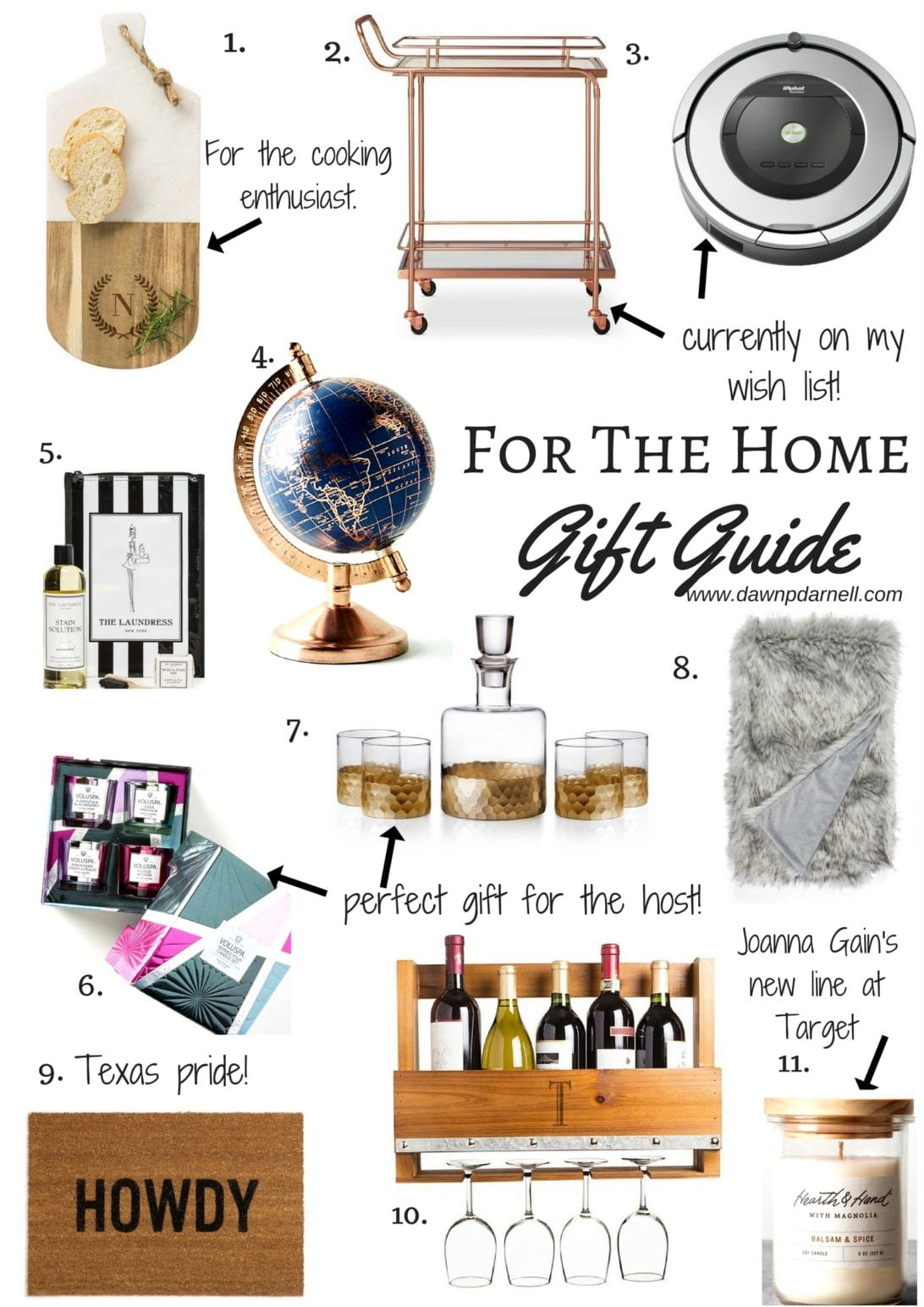 Gift ideas for the home, home gift guide, christmas gift guide, Monogram Marble & Wood Serving Board, Metal, Glass, and Leather Bar Cart, Roomba® 860 Robotic Vacuum, Decorative Globe, Stain Removal Kit, Voluspa Maison Mini Candle Gift Set, 'Daphne' Decanter & Whiskey Glasses, Fox Faux Fur Throw Blanket, 'Howdy' Doormat, Personalized Rustic Wall Wine Rack & Glass Holder, Hearth & Hand with Magnolia Lidded Candle