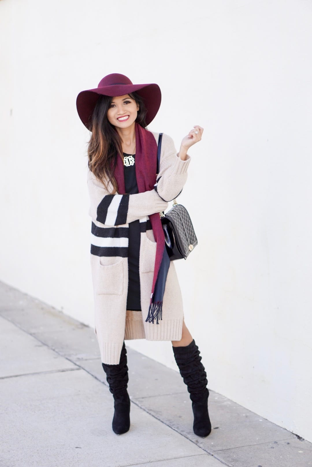 november favorites, fall accessories, Burgundy hat, floppy hat, fall accessories, beauty favorites, fashion favorites, slouchy boot, black boots, striped cardigan, goodnight macaroon, Rebecca minkoff love cross body, monogrammed necklace , black dress, fall dress, fall outfit, fall favorites