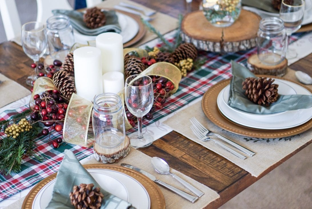 gift guide for the home, christmas decor, home holiday decor, Fraser fir tree, real christmas tree, Christmas tree decor, gold and silver christmas tree, rustic christmas table setting, christmas tablescape, holiday tablescape, pine cones