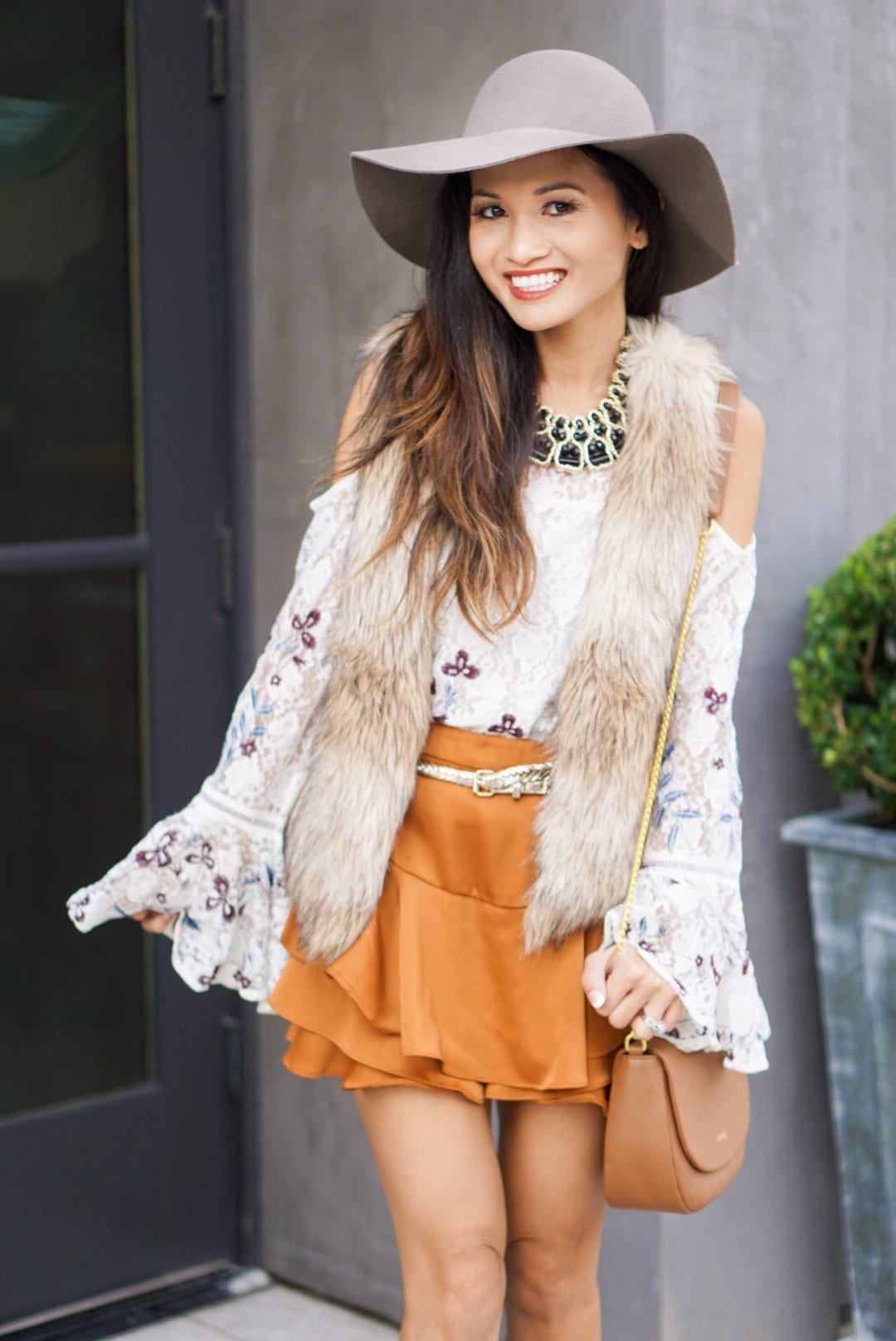 lipault bag, saddle bag, floppy hat, bell sleeve top, fall outfit, November outfit, satin skirt, fall look, open toe booties, statement necklace, lace top