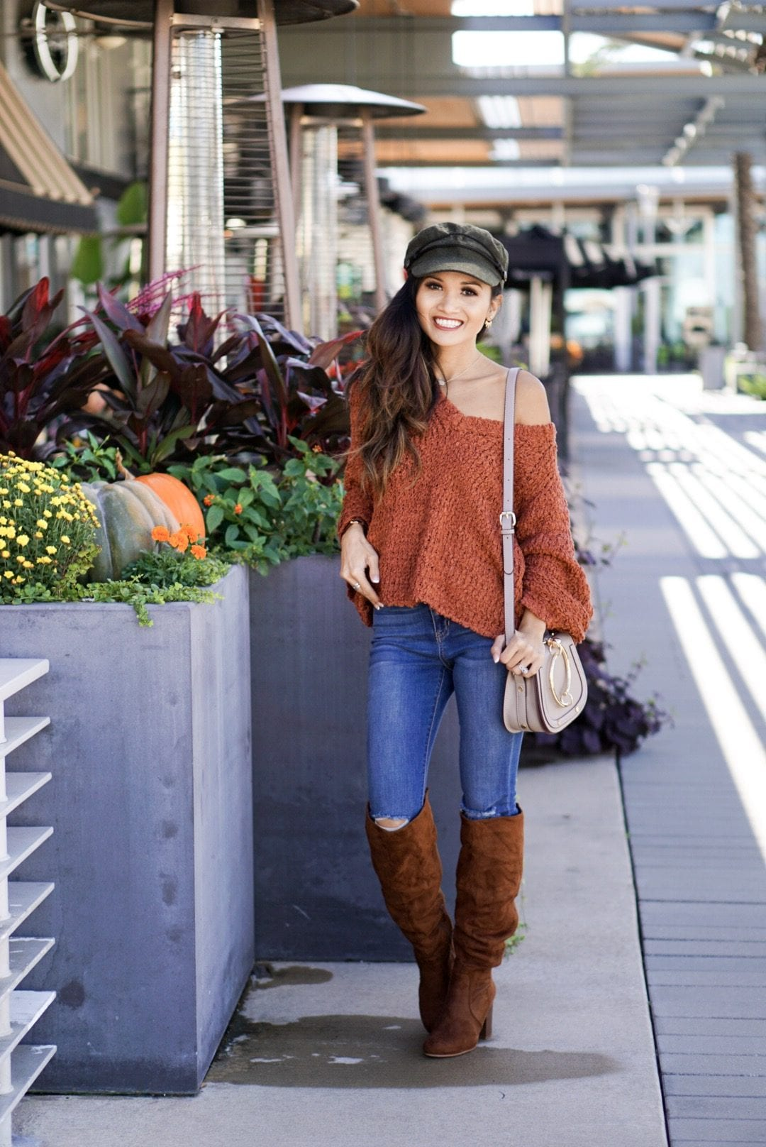 bell sleeve sweaters, bell sleeve tops, sweaters under $100, Thanksgiving outfit, suede cap, news boy cap, Chloe dupe, sugar fix, evereve, orange sweater, rust sweater, thanksgiving sweater, fall sweater, tall suede boots