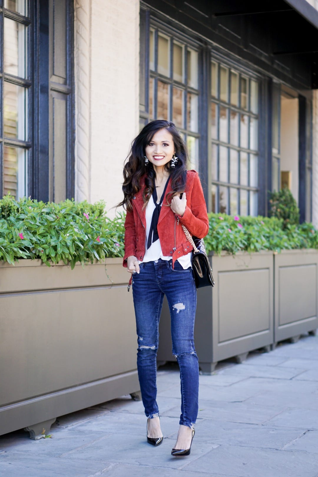 ZAPPOS, blank NYC, blank NYC denim, BLANK NYC MOTO JACKET, SUEDE JACKET, RED JACKET, HOLIDAY OUTFIT, CHRISTMAS OUTFIT, URBANATTITUDE, BAUBLE BAR STATEMENT EARRINGS, REBECCA MINKOFF CROSSBODY BAG, RED BOTTOMS, CHRISTIAN LOUBOUTIN HEELS, BLACK HEELS ,