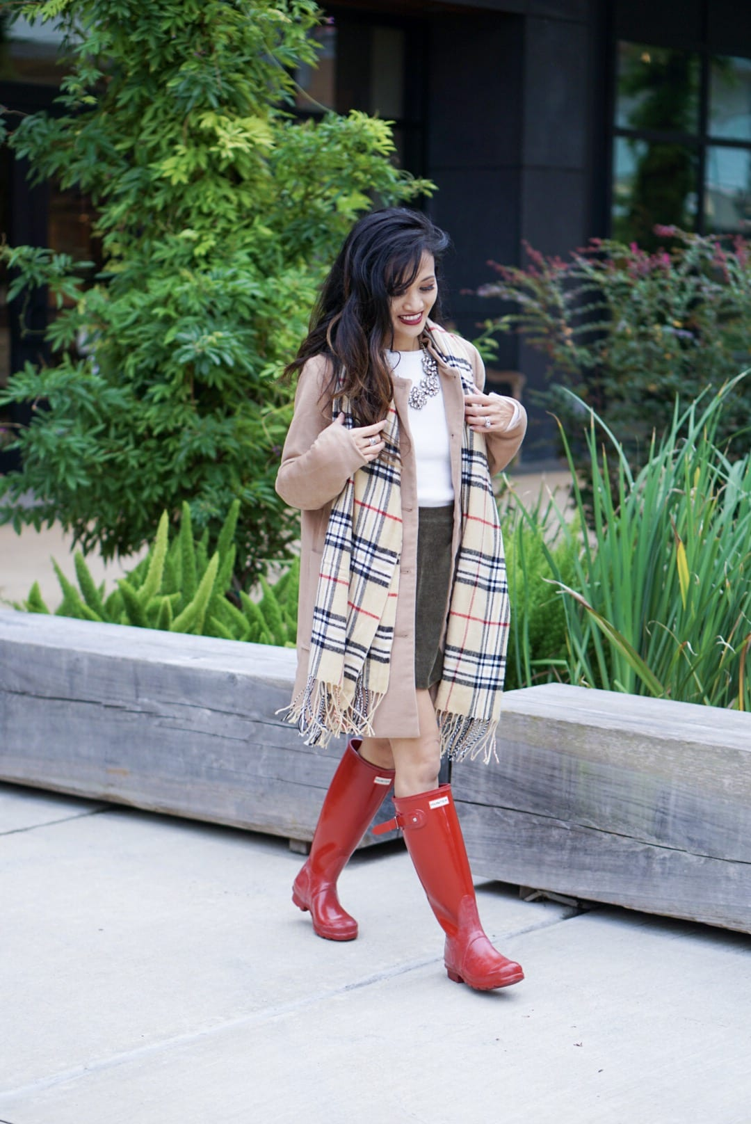 hunter boots, hunter boots outfit, holiday outfits, how to wear hunter boots, christmas outfits with hunter boots, gift guide for her, red hunter boots, hunter boots for the holidays, plaid scarf, monogrammed scarf, camel coat, corduroy skirt, bauble bar necklace, Kendra Scott red Danielle earrings