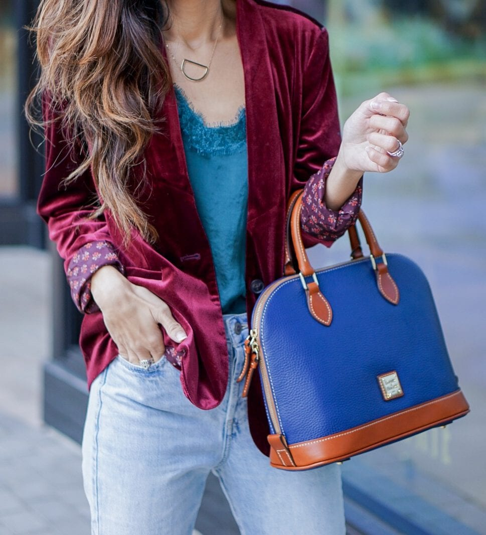 Dooney & Bourke Pebble Zip Zip Satchel, velvet blazer, old navy, zappos, doctor bag, satchel, mom jeans, high waisted straight jeans, high waisted crop jeans, velvet booties, Burgundy booties, Christmas outfit, holiday style, New Years outfit