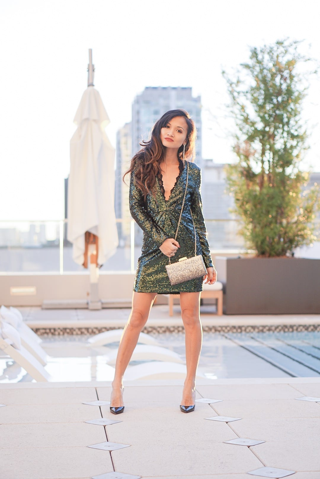 a-line coat, velvet coat, dress jacket, holiday outfit, New Years outfit, sequin dress, glitter clutch, hotel Alessandra, Houston, staycation