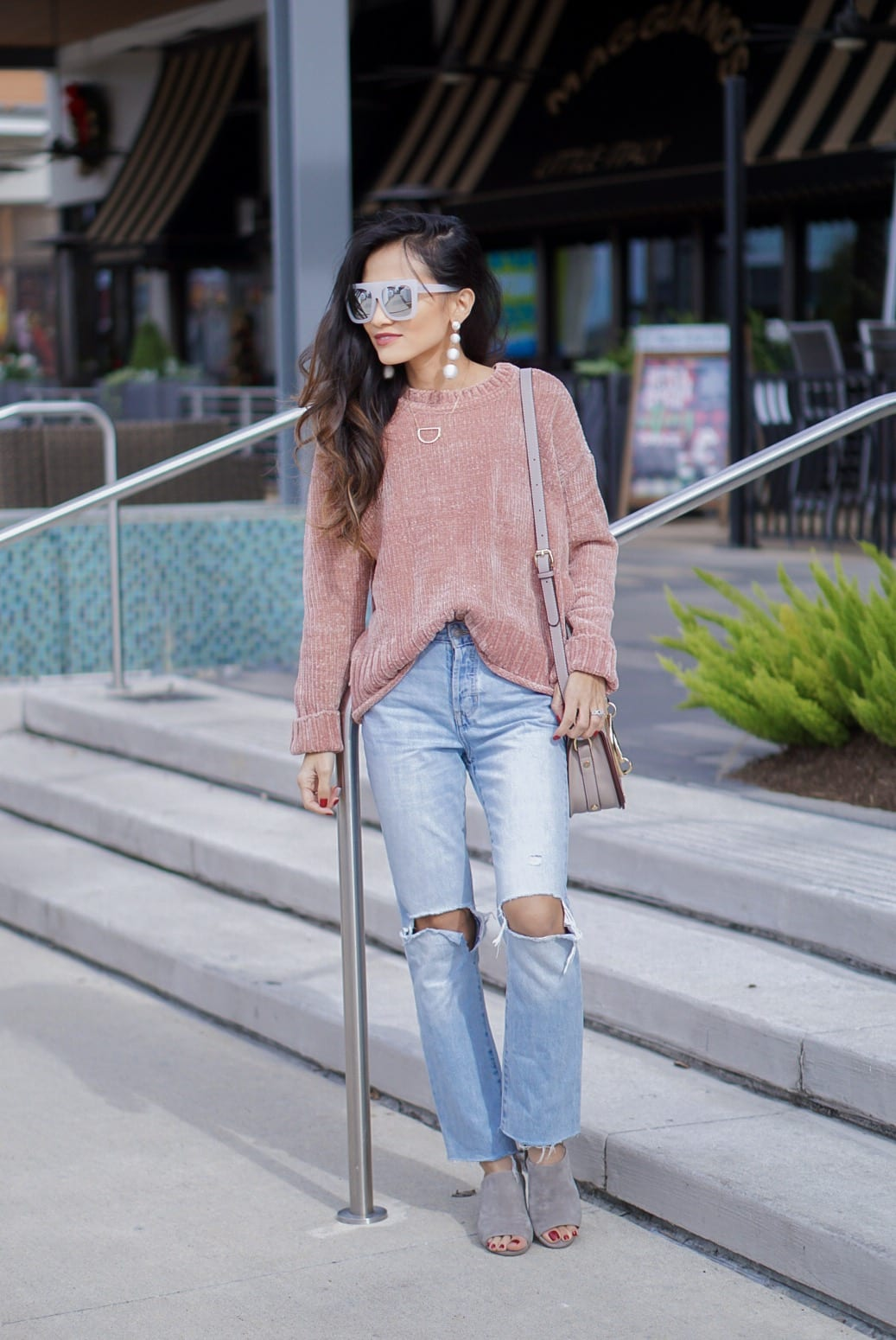 chenille sweater, pink chenille, cafe racer sunglasses, quay sunglasses, mom jeans, crop mom jeans, grey mule, grey slides, bauble ball earrings, Chloe dupe bag