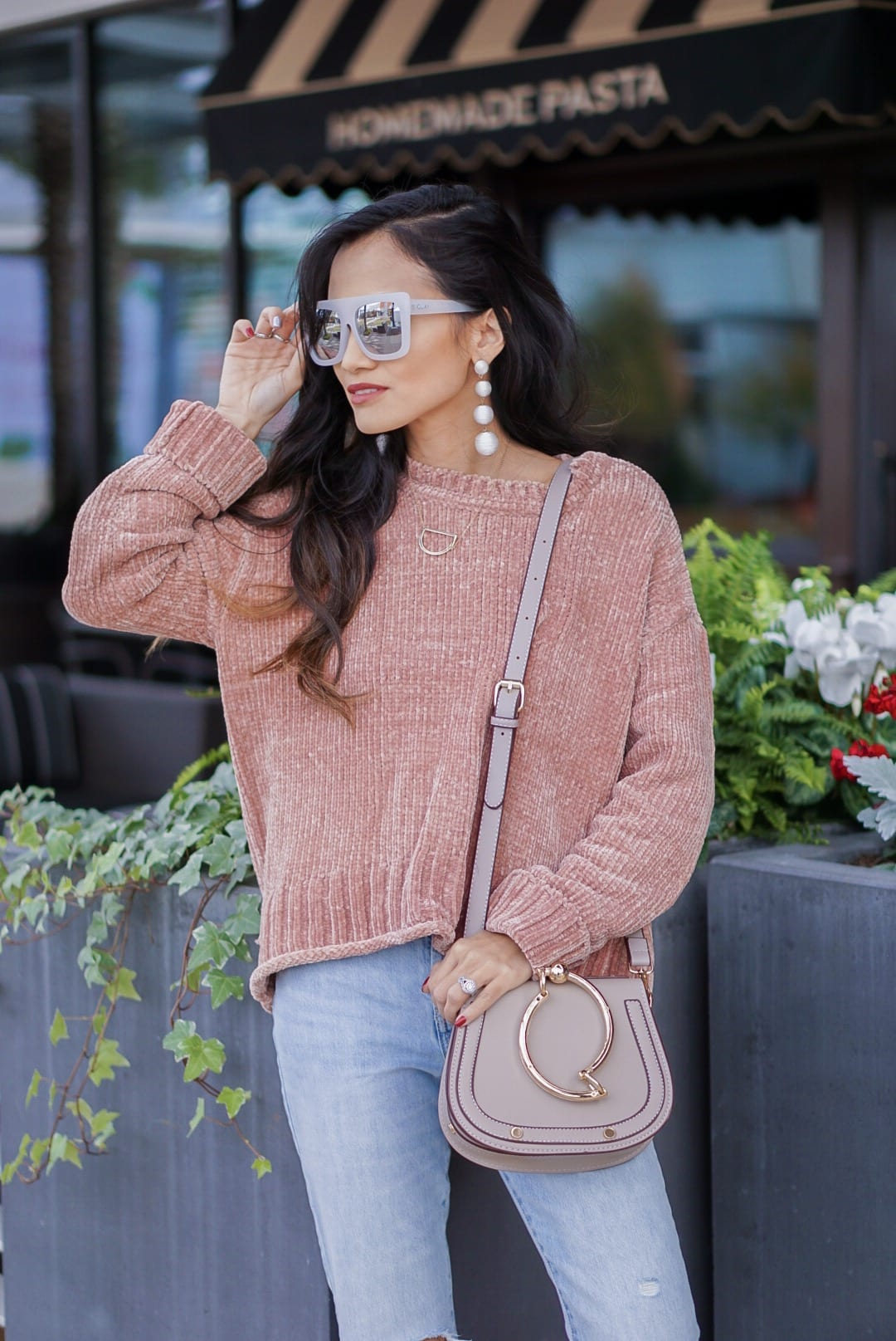 chenille sweater, pink chenille, cafe racer sunglasses, quay sunglasses, mom jeans, crop mom jeans, grey mule, grey slides, bauble ball earrings, Chloe dupe bag, initial necklace