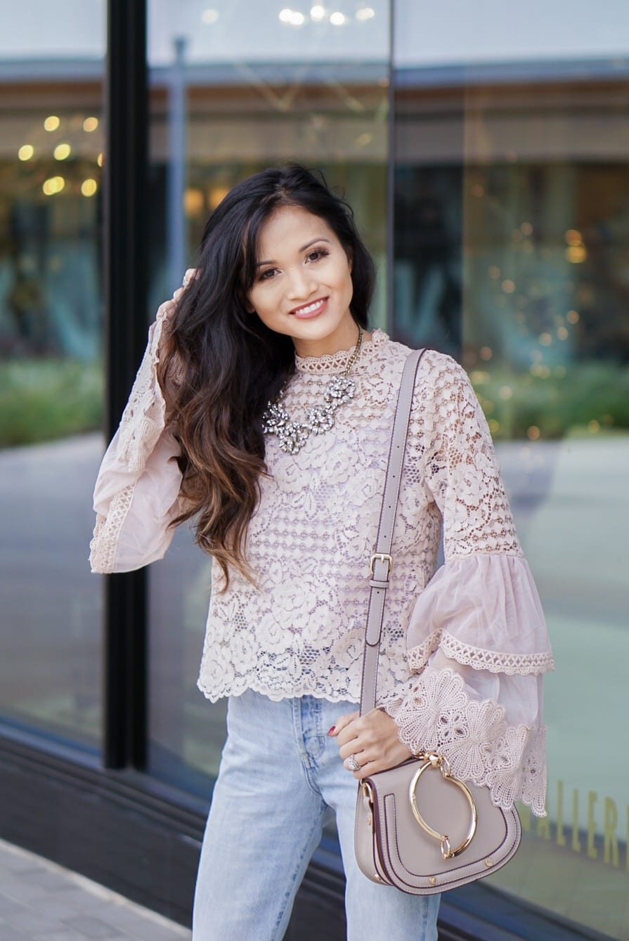bell sleeve crochet top, ever eve, trend send, vintage straight jeans, sugarfix by bauble bar, Manolo Blahnik, nude pumps, Valentine's Day outfit, spring outfit, winter outfit, Chloe dupe bag
