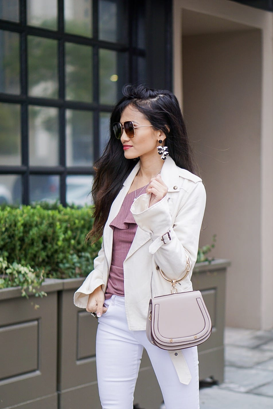 Paige papyrus moto jacket, white on white, white jacket, white moto jacket, one shoulder ruffle top, quay sunglasses, bauble bar earrings, white denim, white denim outfit, winter to spring outfit, small chested outfit, tips for styling with small breast,