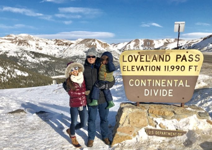 snowboarding, what to wear when snowboarding, what to wear skiing, Ski outfit, snowboard outfit, winter outfit, snow outfit, winter fashion, snow fashion, winter style, puffer jacket, ski pants, Sorel boots, quay sunglasses, visit Colorado, loveland pass, continental divide