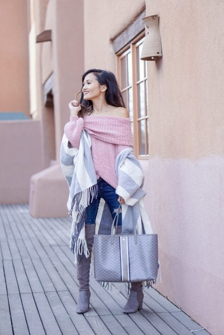 New Mexico travel guide, tory burch gemini tote, Santa Fe, New Mexico, Albuquerque, pink off the shoulder sweater, grey over the knee boots, Taos New Mexico, hotel Santa Fe