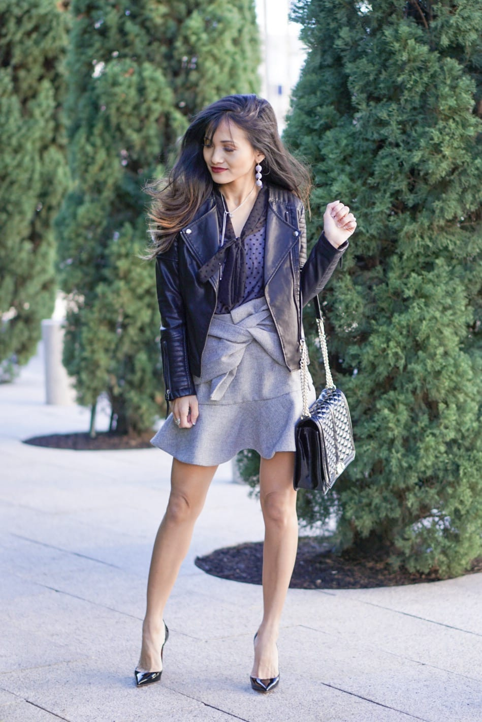gingham skirt, bow skirt, bow neck top, leather jacket, love crossbody bag, black patent christian louboutin heels, fashion finds, cute skirts, mini skirts