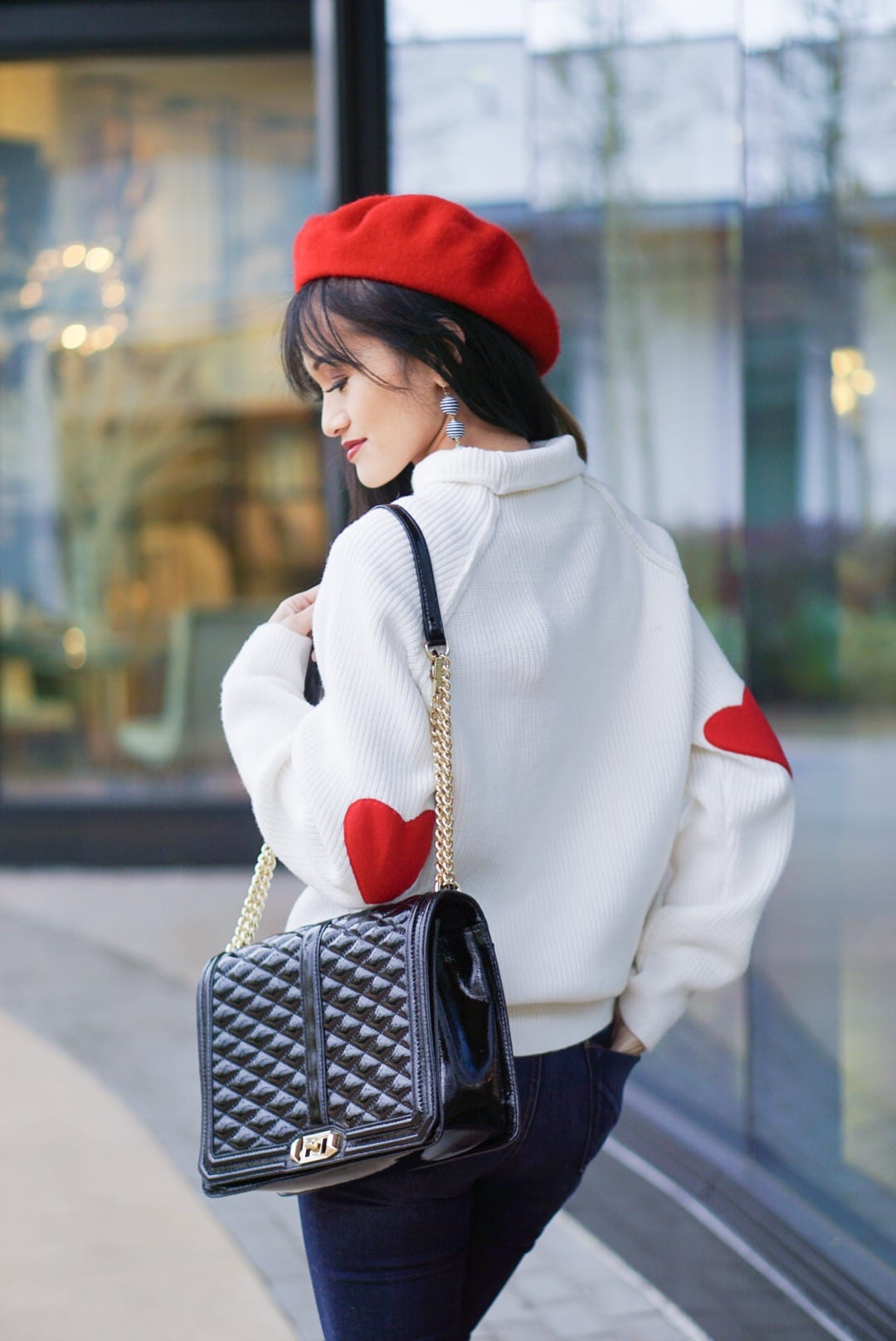 valentine outfit, heart on my sleeve, heart patch sweater, valentine sweater, over the knee boot, otk boot, red beret, love crossbody bag, love languages, 5 love languages