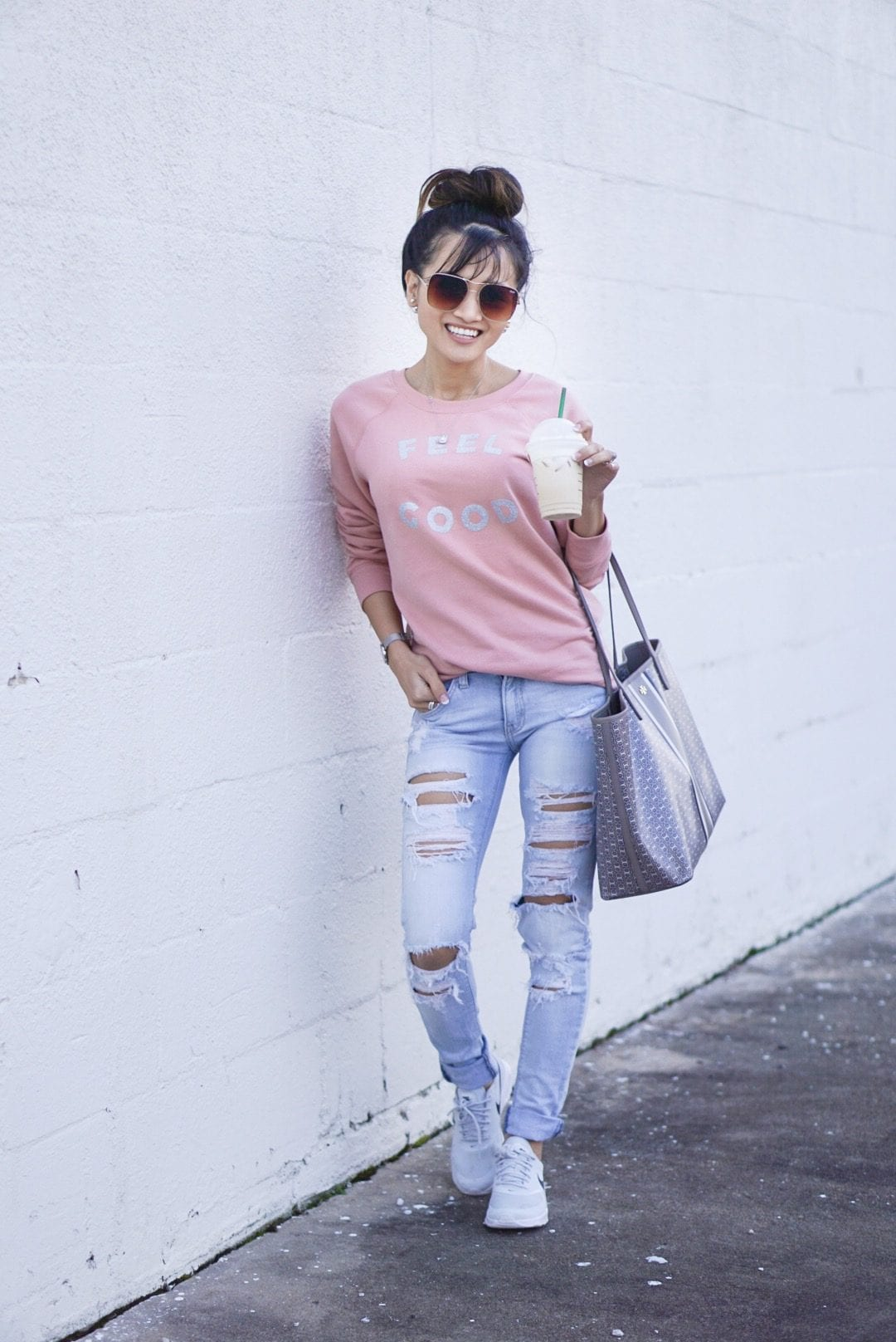 self care, self care quotes, love yourself, valentines outfit, old navy sweater, nike Thea max, ripped jeans, tory burch gemini tote, quay stop and stare sunglasses