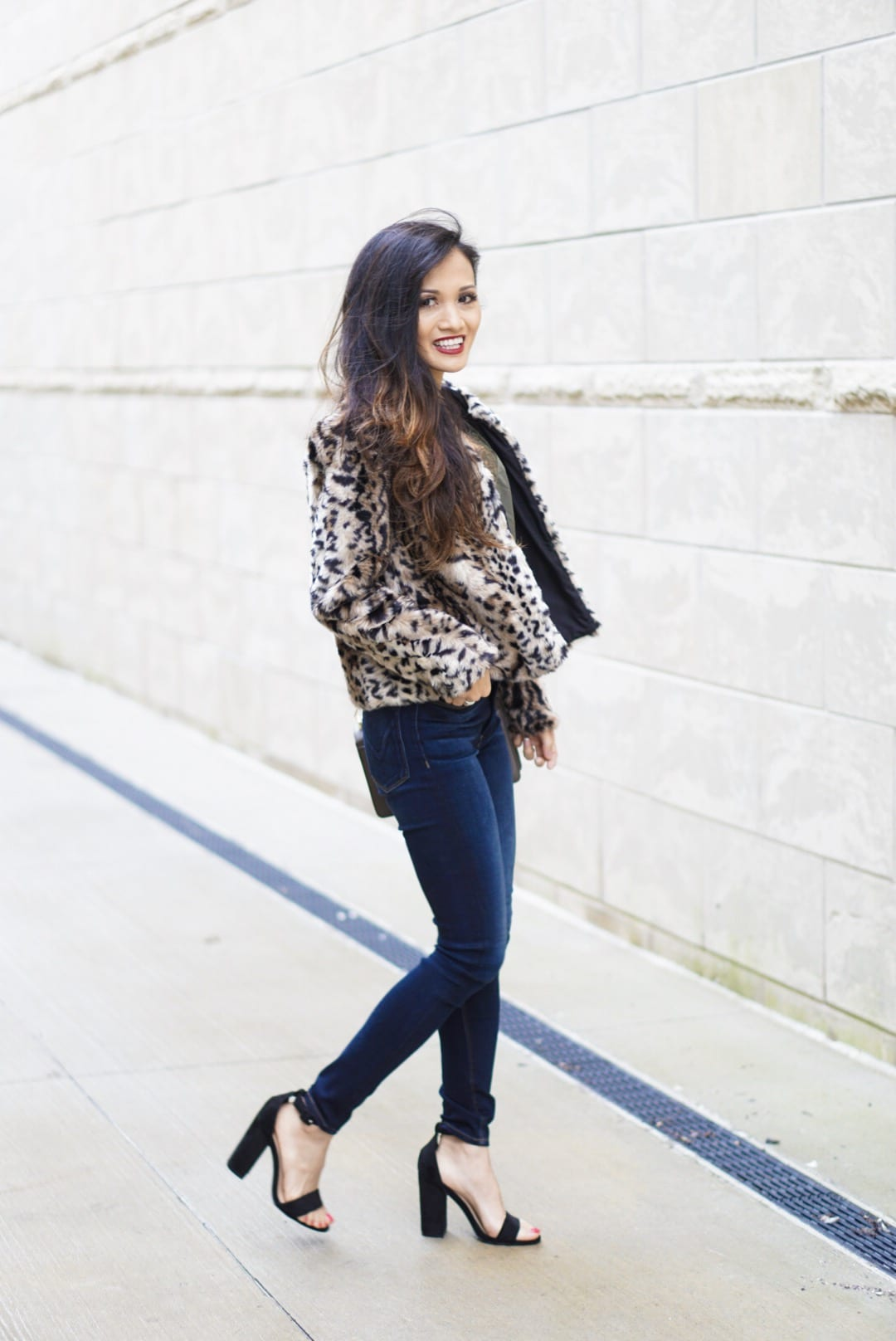 leopard coat, leopard jacket, leopard coat outfit, Evereve, free people bralette, lace cami, Rebecca mink off love crossbody bag, Steve Madden black sandals, date night outfit, initial necklace, Hudson skinny jeans