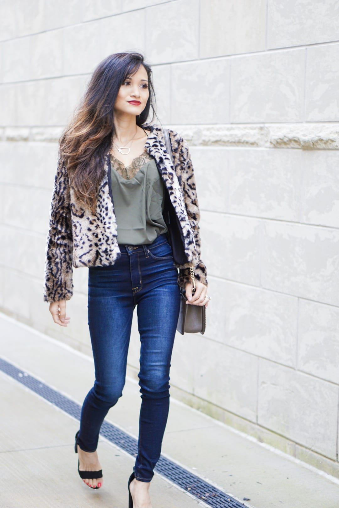 leopard coat, leopard jacket, leopard coat outfit, Evereve, free people bralette, lace cami, Rebecca mink off love crossbody bag, Steve Madden black sandals, date night outfit, initial necklace, Hudson skinny jeans