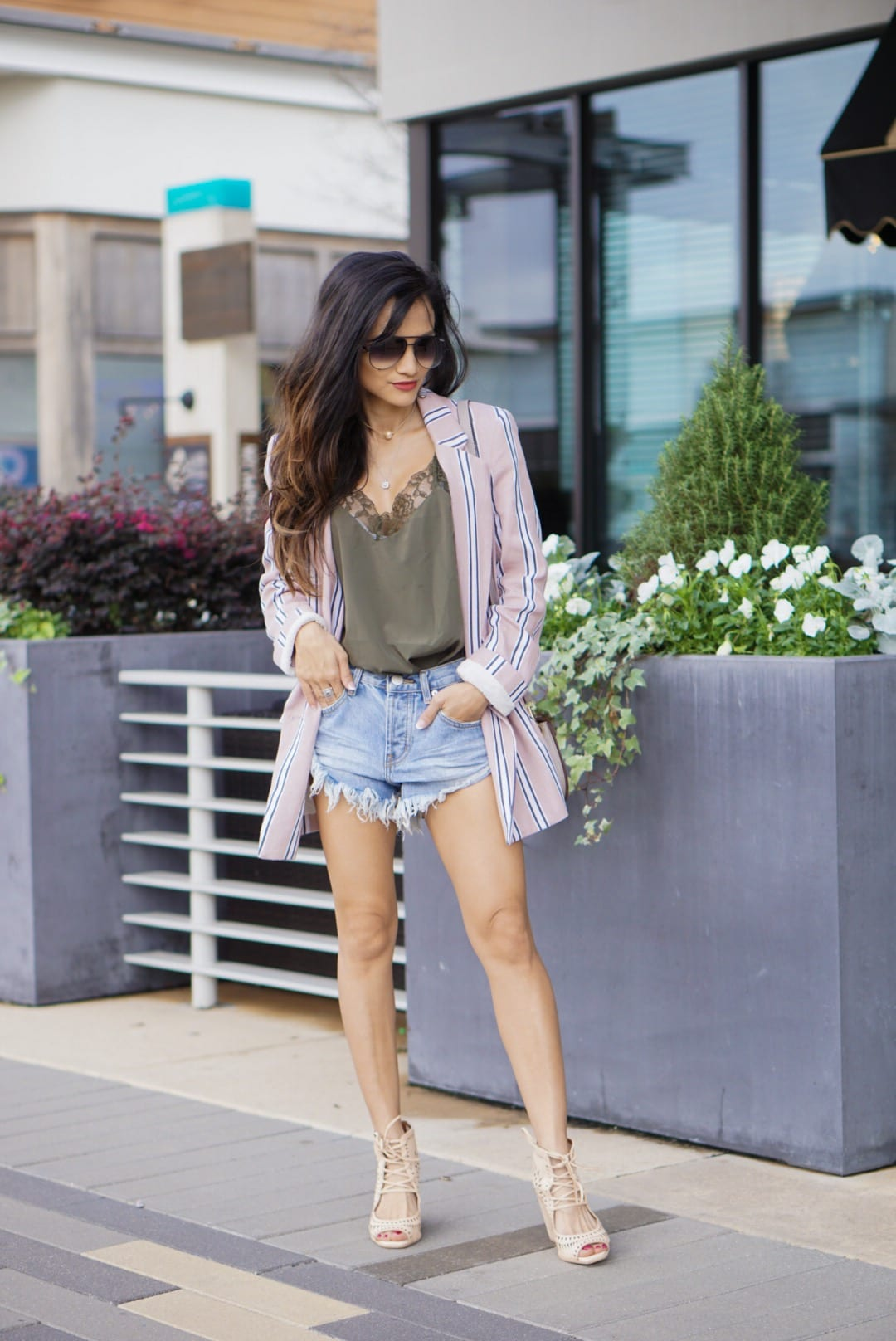 spring favorites, spring style, Uptown Girl Blazer, boyfriend blazer, free people blazer, cut off shorts, free people shorts, shop bop, revolve, quay sunglasses, Jeffrey Campbell Rodillo Wedge Sandals