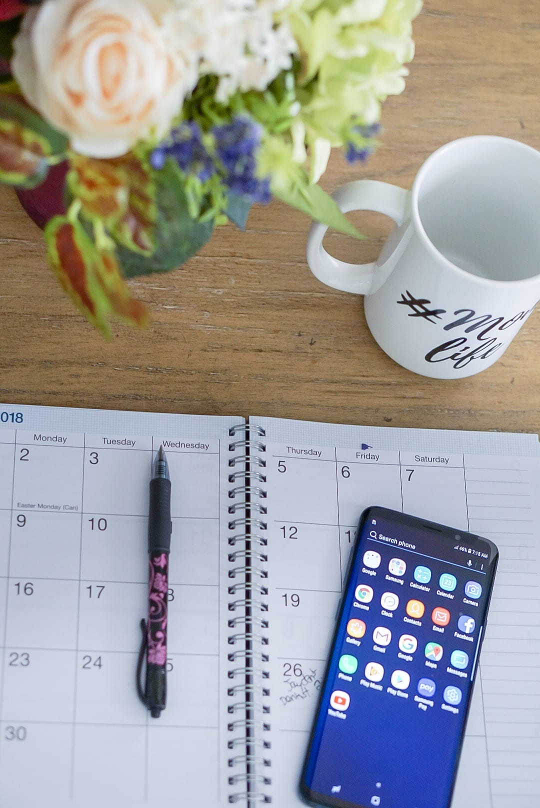 samsung galaxy 9+, target, mom life, family schedule, organizing tips