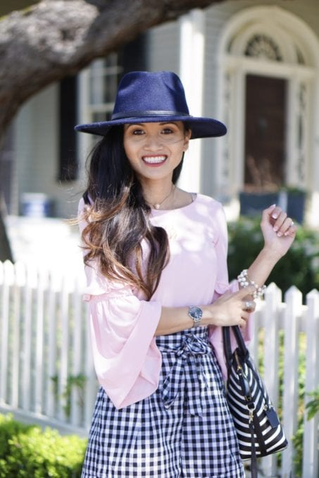 Black Gingham Shorts, red dress boutique, gingham, gingham shorts, spring style, gingham dresses, tie front shorts, bell sleeve top, navy felt hat, Jeffrey Campbell wedges, Kate spade bag
