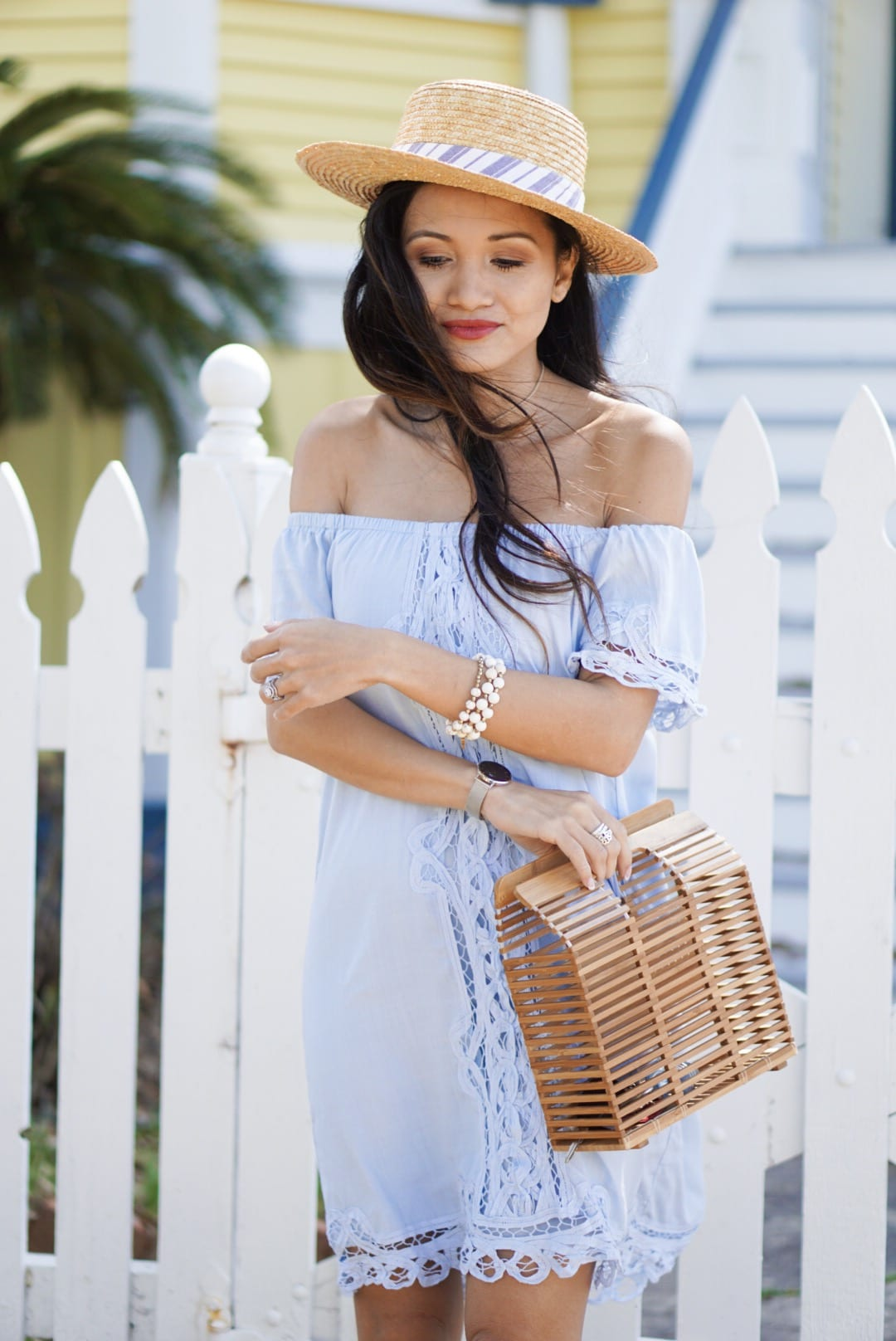 blue crochet dress, Francesca's, rodeo dress, rodeo outfit, spring break, spring break outfit, spring style, spring dress, bamboo bag, Jeffrey Campbell Rodillo Wedge Sandals, boat hat, straw hat, summer style, blue summer dress