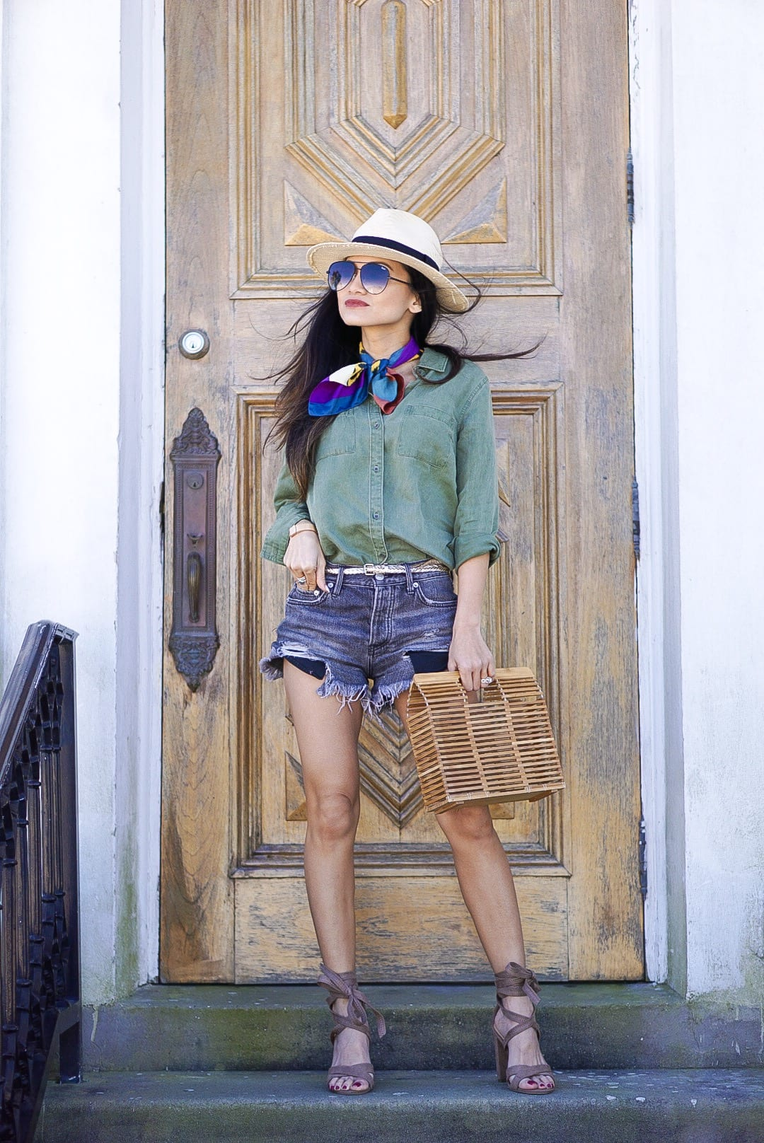 old navy, utility shirt. free people good vibrations shorts, block wrap heels, bandana, straw fedora, wardrobe essentials, closet must haves