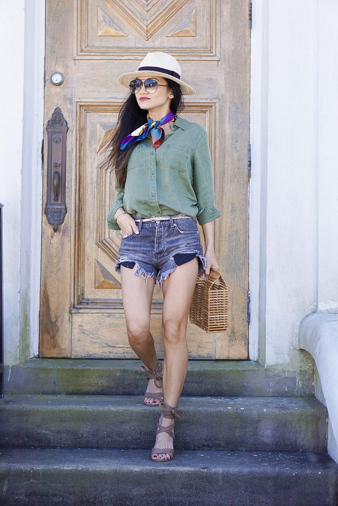 old navy, utility shirt. free people good vibrations shorts, block wrap heels, bandana, straw fedora