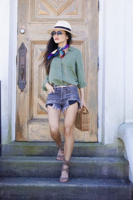 old navy, utility shirt. free people good vibrations shorts, block wrap heels, bandana, straw fedora