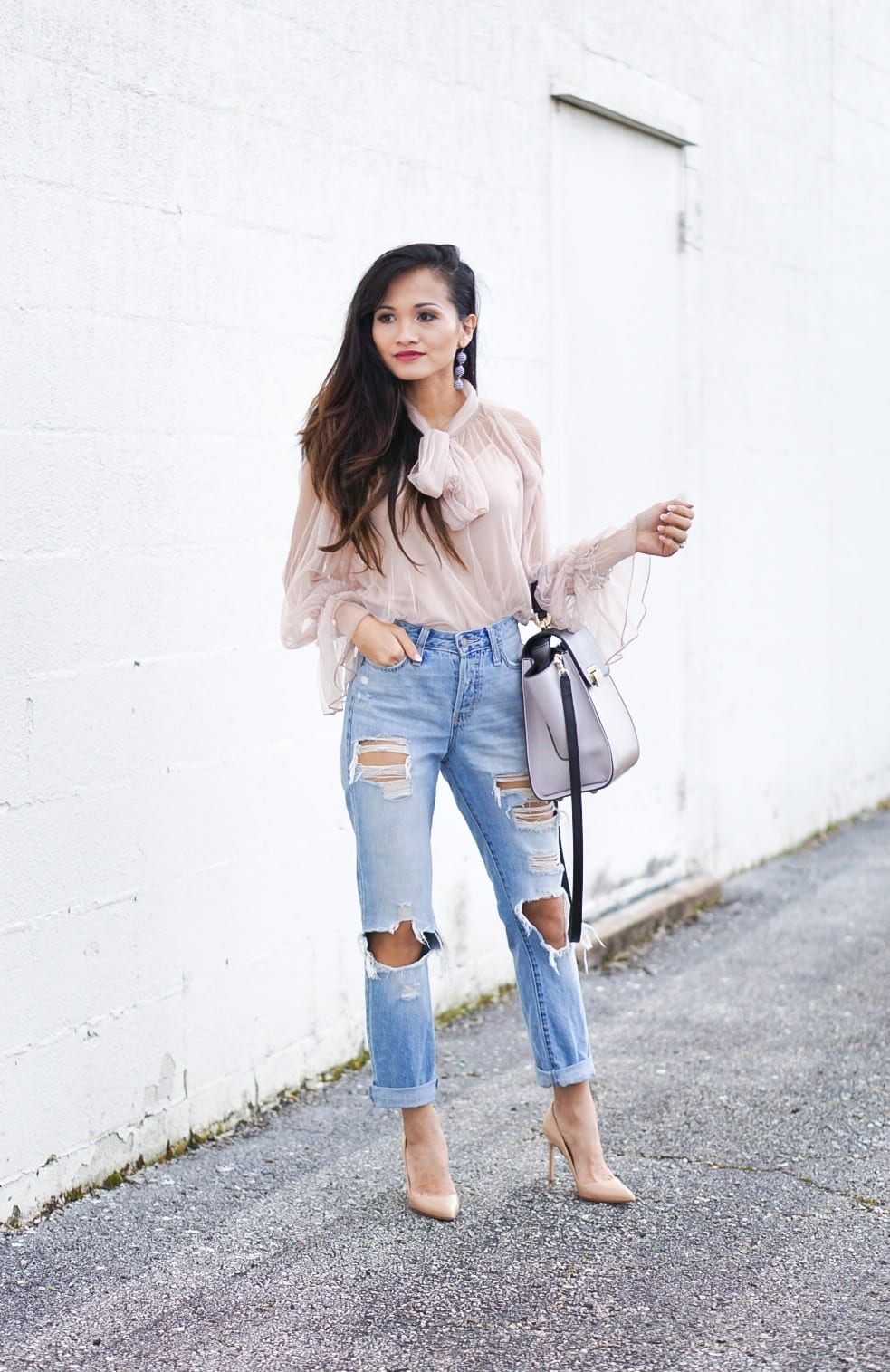 mesh bow top, ripped jeans, Zac Zac Posen bag, distressed jeans, Manolo blanik, nude heels, nude pumps