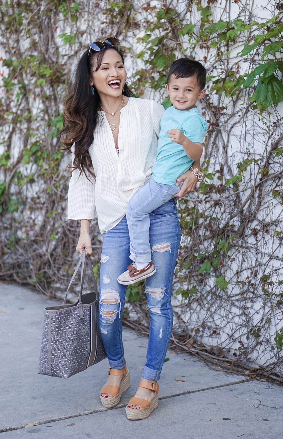 mom life, Soludos wedges, distressed skinny jeans, cece pintuck blouse, mommy and me, boy mom, tory burch gemini tote