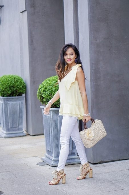yellow tie sleeve top, peplum top, easter, easter outfit, spring style, spring fashion, straw bag, woven heels, wrap heels, pastel yellow, white jeans