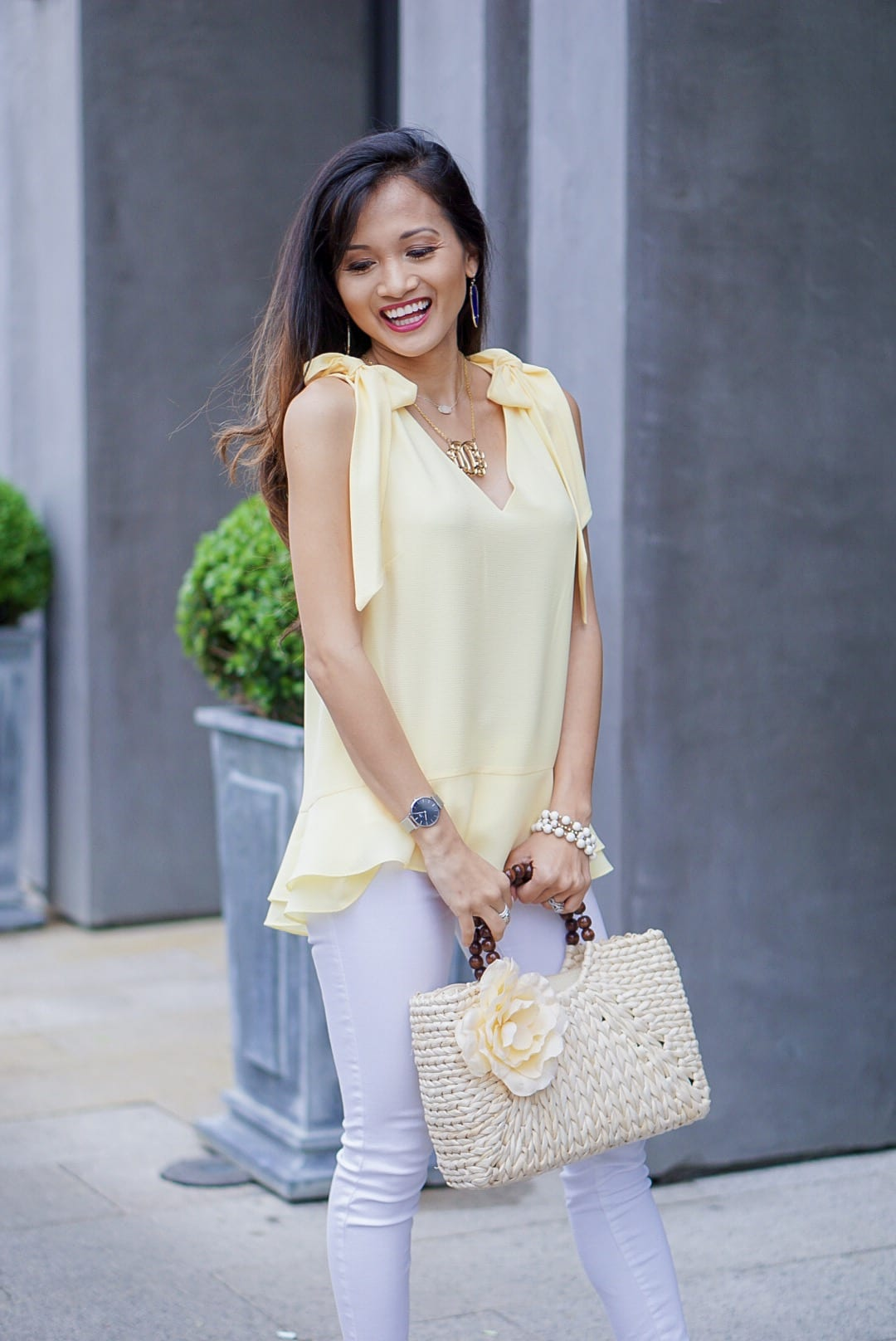 yellow tie sleeve top, peplum top, easter, easter outfit, yellow tie shoulder blouse, spring style, spring fashion, straw bag, woven heels, wrap heels, pastel yellow, white jeans
