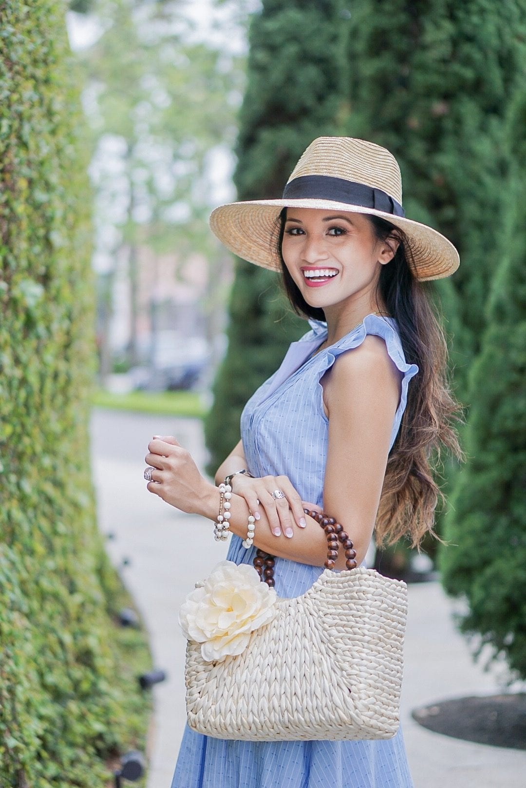 easter dress, baby blue dress, spring dress, ruffle sleeve, pintuck dress, straw hat, straw bag, soludos wedges, espadrille wedges, spring style, spring fashion, Easter