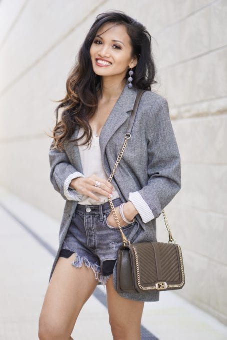 tweed blazer, spring style. Rebecca Minkoff mules, gold mules, spring shoe, Rebecca Minkoff love crossbody bag, Free People Good Vibration shorts, business casual outfit, spring style, spring sale, shopbop spring sale