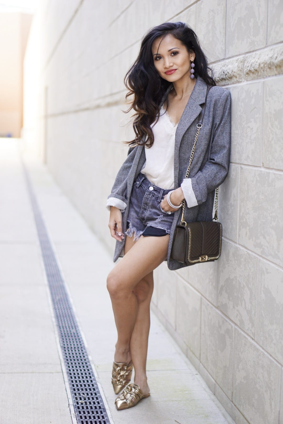 tweed blazer, spring style. Rebecca Minkoff mules, gold mules, spring shoe, Rebecca Minkoff love crossbody bag, Free People Good Vibration shorts, business casual outfit, spring style, spring sale, shopbop spring sale, black denim shorts