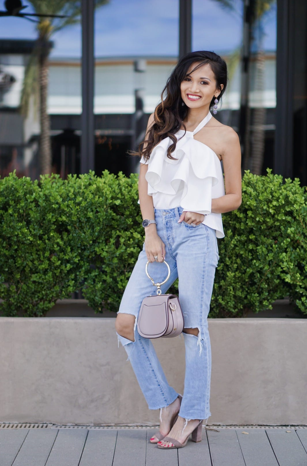 blog survey, ruffle top, summer outfit, cropped straight jeans, giveaway, survey, bauble bar, Chloe bag dupe