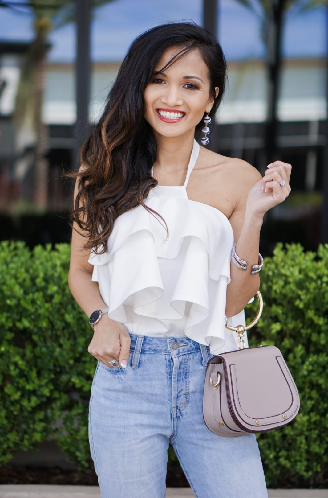 ruffle top, summer outfit, cropped straight jeans, giveaway, survey, bauble bar, Chloe bag dupe