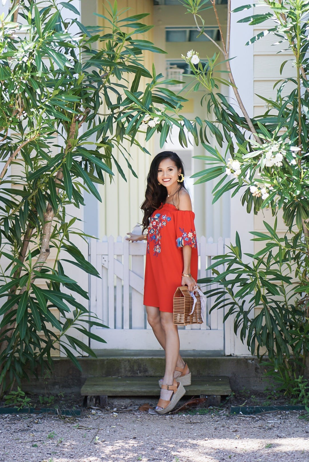 month of May, Mother's Day, Memorial Day, off the shoulder, cinco de Mayo, red embroidered dress, yellow statement earrings, bamboo bag, straw bag, yellow off the shoulder top, Betsy Boo's Boutique, red gingham top, Soludos platform sandals