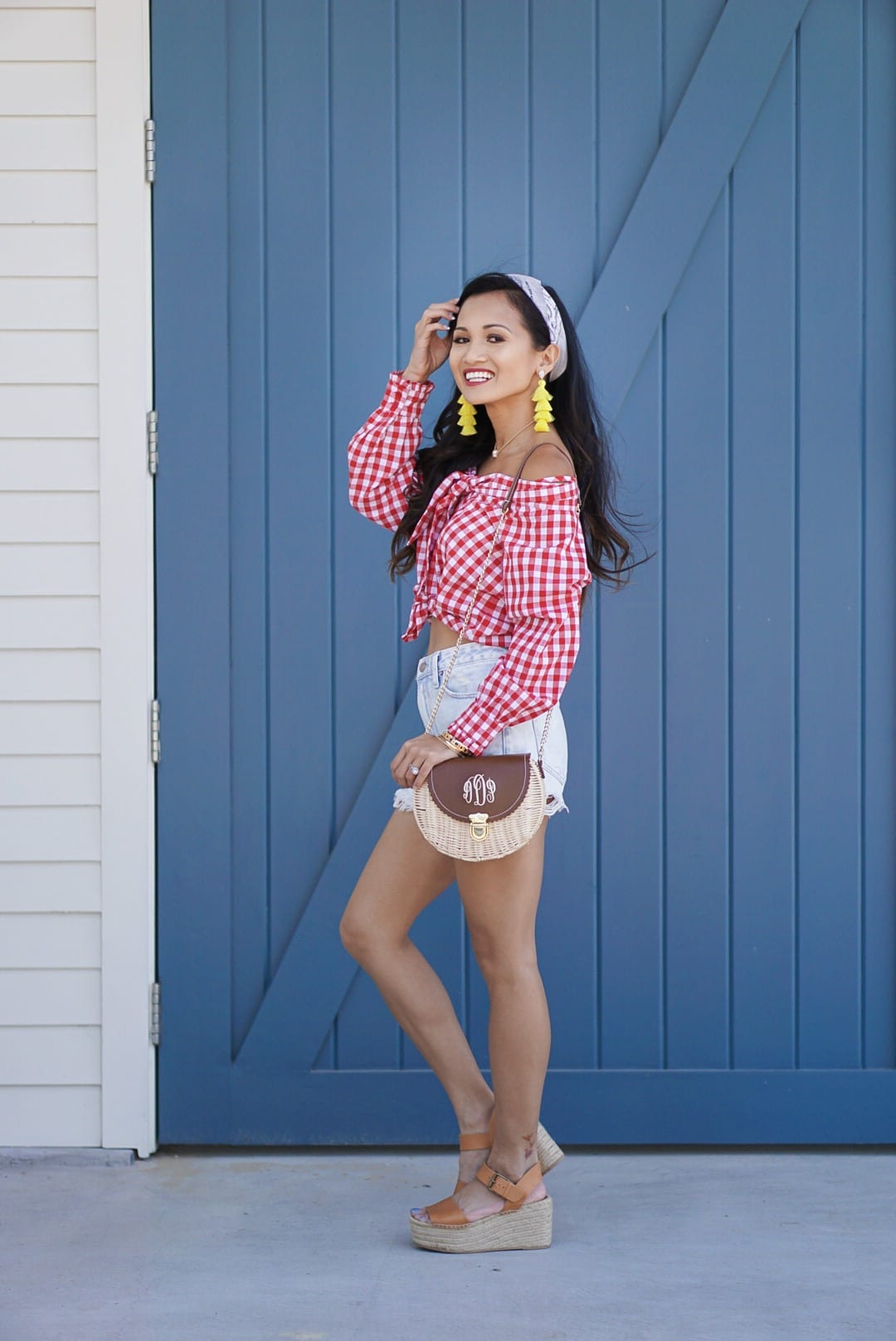 month of May, off the shoulder, cinco de Mayo, red embroidered dress, yellow statement earrings, bamboo bag, straw bag, yellow off the shoulder top, Betsy Boo's Boutique, red gingham top, Soludos platform sandals
