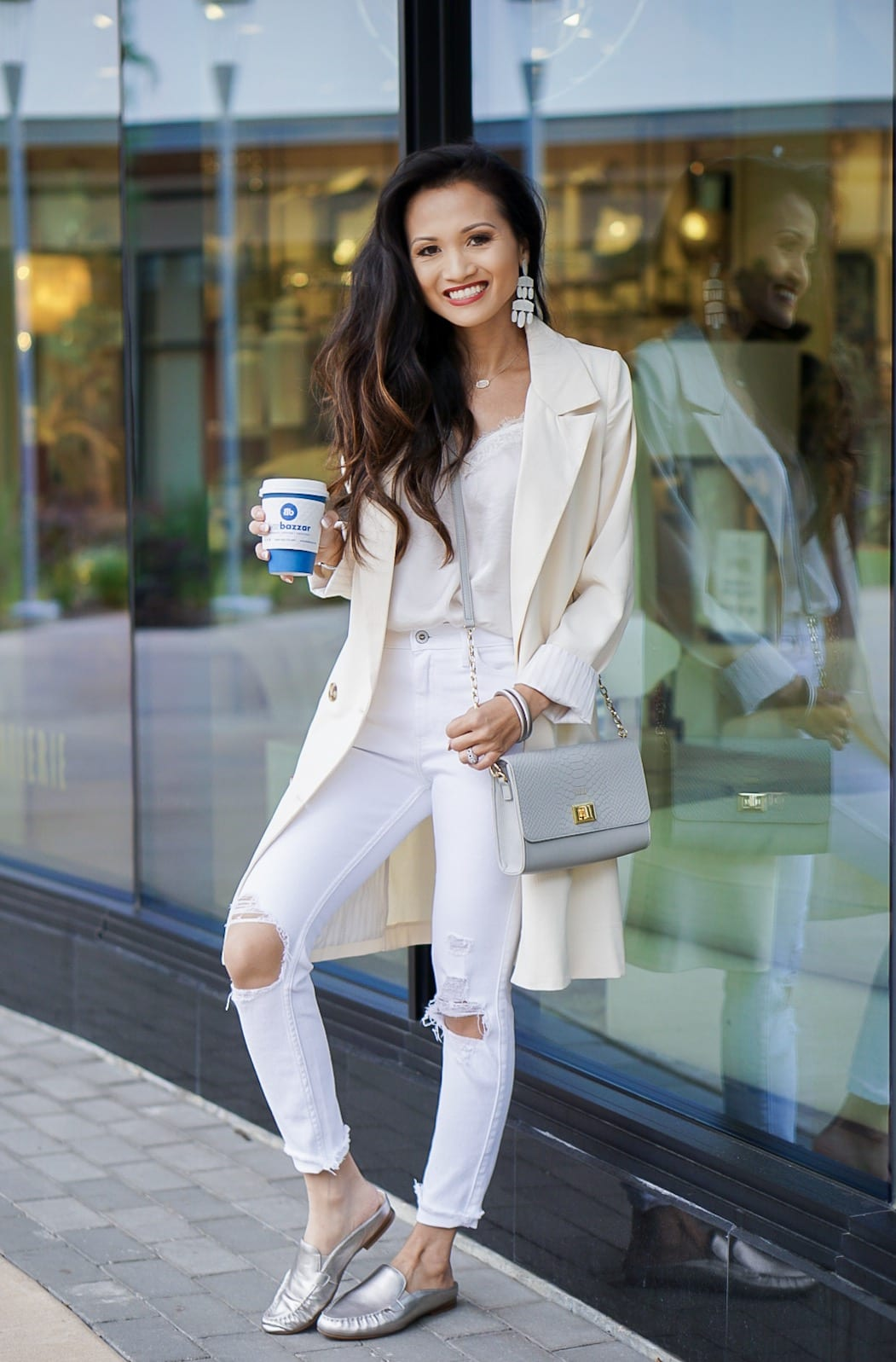 #movefor #inspiredsteps #sponsored #zappso, easy spirit Crellin, mules, loafers, Zappos, dress for success, white blazer, white jeans, Gigi New York crossbody bag, Kendra Scott earrings