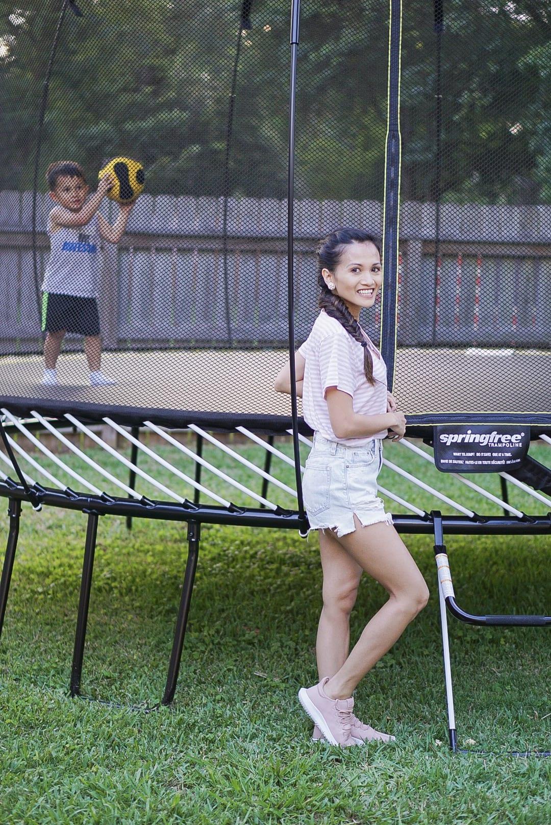 SPRINGREE TRAMPOLINE, backyard activities, toddler activities, summer activities, summer fun, trampoline safety, Adidas tubular