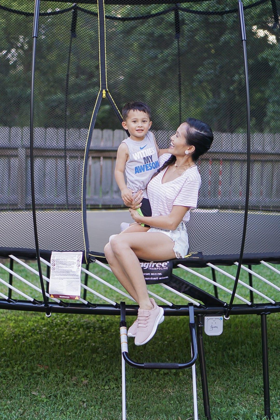 SPRINGREE TRAMPOLINE, backyard activities, toddler activities, summer activities, summer fun, trampoline safety